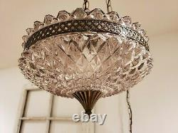 REWIRED Mid Century Regency Smokey Pineapple Cut Glass Hanging Swag Light Lamp