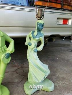 Rare Vintage spanish Dancer Lamps Mid Century modern plaster lights chic