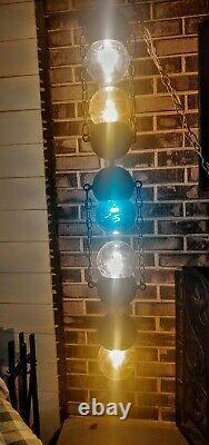 Rare Vtg. Mid-century Modern Five Atomic Globe Ball Stacked Crackle Light Swag