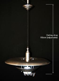 Rare mid-century modern Danish designer flying saucer three tiered light pendant