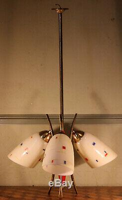 Retro Atomic 50/60s Red Glass Shade Ceiling Chandelier Light Mid Century Vintage