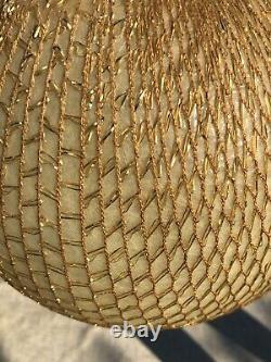 Retro Fiberglass Gold Thread Metallic Net Orb Pendant Ceiling Light Mid Century