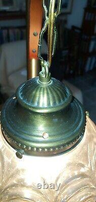Retro Mid Century Modern Tension Pole Lamp 2 lights amber