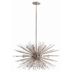STARBURST 12 Light Chandelier, Polished Nickel, Sputnik, MID CENTURY MODERN