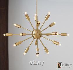 Satin Brass 18 Lights Arms Mid-century Sputnik Chandelier Light Fixture