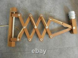 Scissor Wall Light Lamp Mid Century Design Wooden Accordion Scandinavian vintage