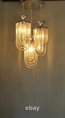 Sculptural Vintage Lucite Ribbon Mid Century Chandelier Modern Glam 3-light