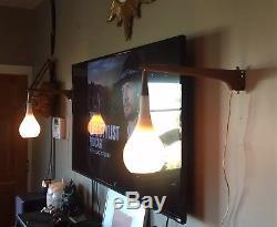 Set Vintage Mid Century Modern Danish Droplet Wall Sconce Light Atomic Teak 2