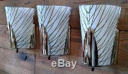 Set of 3 Mid Century Modern Sconces-Vintage MDM Slip Shade Atomic Wall Light