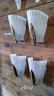 Set of 4 Mid Century Modern Sconces-Vintage MDM Slip Shade Atomic Wall Light