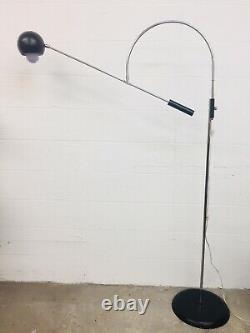 Sonneman Orbiter Swing Arm Floor Lamp Light MidCentury Modern Black Eyeball MCM