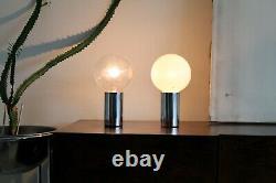 Sonneman Vtg Mid Century Modern Chrome Cylinder Ball Orb Light Desk Table Lamp
