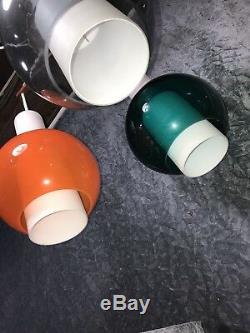 Spectacular Midcentury Modern Vintage Original Hanging Three Globe Light Fixture