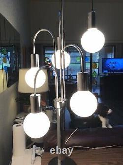 Superb Vintage MID Century Space Age Retro 5 Light Glass Orb Chrome Table Lamp