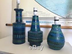 Three Bitossi Midcentury Ceramic Lamp Bases Vintage Lighting