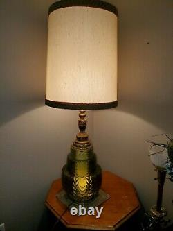 VINTAGE MID CENTURY GREEN GLASS TABLE LAMP with NIGHT LIGHT