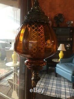 VIntage RETRO MID-CENTURY AMBER BROWN GLASS HANGING SWAG PENDANT LIGHT WORKS