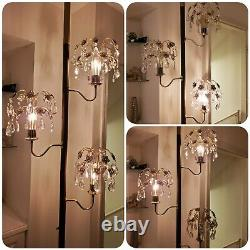VTG Crystal Tension Pole Lamp Mid Century Hollywood Regency Glam Light MCM