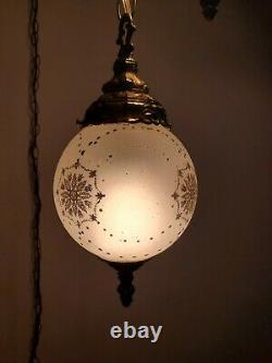 VTG Double Swag Hanging Light Ornate Small Glass Globe Mid Century Lamp Plug