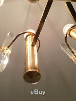 VTG Gaetano Sciolari Chandelier MID-CENTURY modern lamp Brass Gold lighting