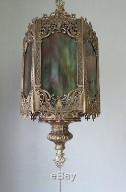 VTG Mid Century Gothic Spanish/Tudor Brass Hanging Swag Light/Lamp Stained Glass
