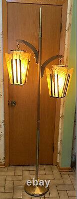 VTG Mid Century Modern 2 Light Floor Lamp Retro 1960's Pendant Swag Teak & Metal