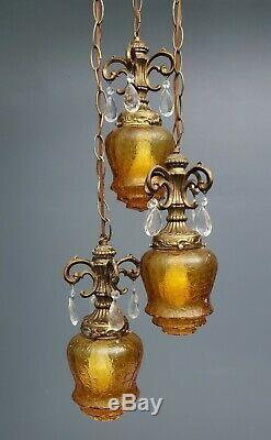 VTG Mid Century Modern 3 Light Crackle Glass Hanging Ceiling Light Prisms Amber