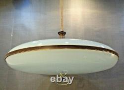VTG Mid Century Modern Atomic Flying Saucer UFO Hanging Ceiling Lamp Light