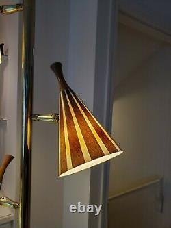 VTG Mid Century Modern Tension Pole Lamp Fiberglass Striped Shades Light MCM