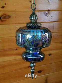 VTG Mid Century Retro Hanging Swag Light/Lamp Iridescent Carnival Glass Design