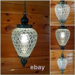 VTG Mid Century Retro Hanging Swag Light/Lamp White Honeycomb Design