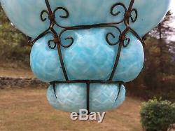 VTG Mid-Century Seguso Murano Hand Blown Art Glass Pendant Hanging Light Lamp