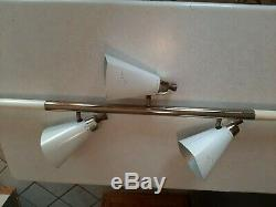 VTG Mid-Century Tension Pole Lamp MCM 3-Light Metal Cone Fixtures 7' Ceiling H4