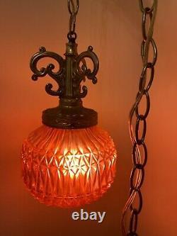 VTG Red Swag Hanging Light Pineapple Cut Glass Globe Mid Century Lamp Plug In