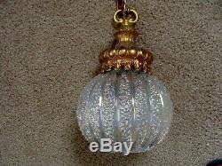 VTGE Hollywood Regency Hanging Lamp Light Swag PAIR Iridescent Balls Mid Century