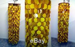 Verner Panton Capiz Shells Mid Century Cascade Chandelier Light Fixture 48
