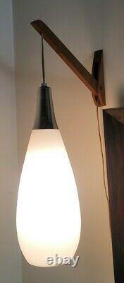 Vintage 1950's Mid Century Danish Modern Hanging Glass Wall Sconce Lamp Light