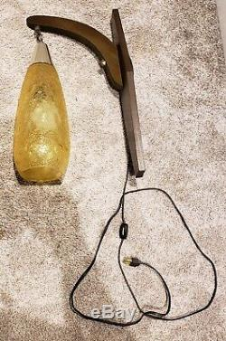 Vintage 1950's Mid Century Modern Eames Era Hanging Glass Wall Sconce Lamp Light
