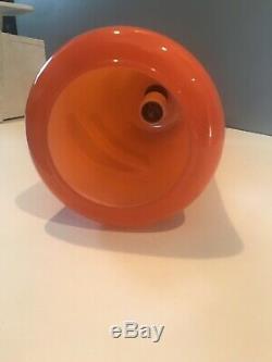 Vintage 1960's Mod MID Century Modern Orange Glass Hanging Pendant Light Lamp