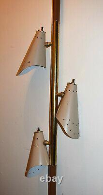 Vintage 1960s Mid Century MCM 3 light tension pole light lamp Star Atomic