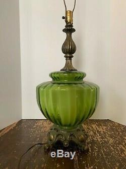 Vintage 1971 Mid Century Modern Green Glass Lamp Night Light Base