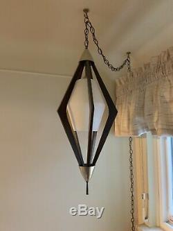 Vintage 28 Mid Century Danish Modern Teak Atomic Hanging Swag Light Lamp 1960s
