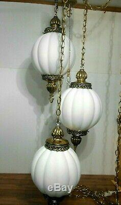 Vintage 3 Globe Swag Light Tiered White Glass Melon Type Shades