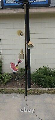 Vintage 50s 60s Mid Century Pole Tension Lamp Light Chrome with Aluminum Shades
