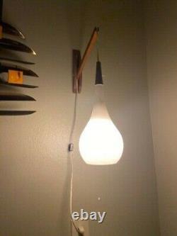 Vintage 60s Mid Century Danish Teak Modern Hanging Glass Wall Sconce Lamp Light