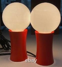 Vintage 60s Orange Takahashi Mushroom Lamps Mid Century Modern Lighting Japan