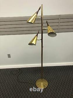Vintage 60s POLE FLOOR LAMP mid century modern metal light wood gold danish
