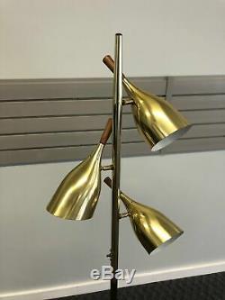 Vintage 60s POLE FLOOR LAMP mid century modern metal light wood gold danish MCM