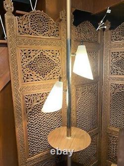 Vintage 70s Mid Century Modern MCM 2 Light & 2 Shelves Tension Pole Floor Lamp