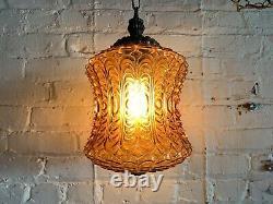 Vintage Amber Glass Swag Lamp MID Century Modern Boho Light Fixture Ceiling